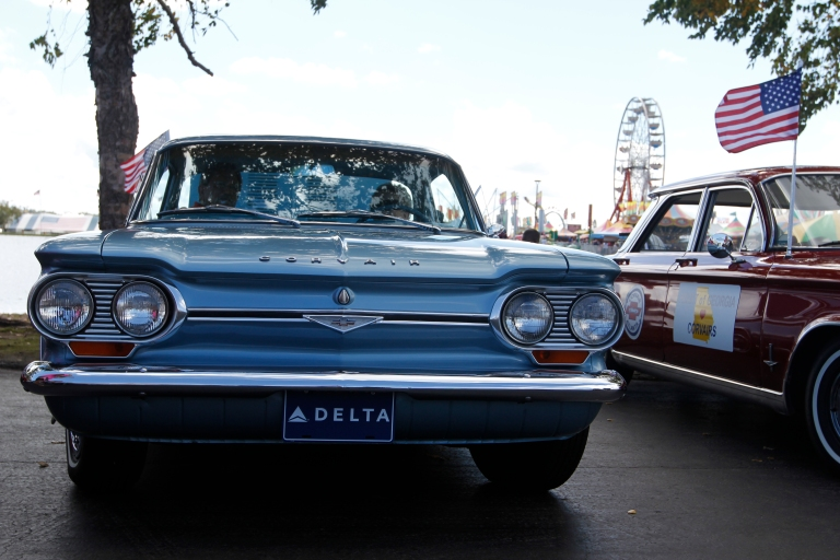 Joan Couch, 75, a retired flight attendent at Delta, from Perry, Georgia, sits in her 1964 Corvair Monza with husband, Tommy Couch, 73, car lot owner from Mississippi, at the Georgia National Fair in Perry, Georgia, on October 10,  2015. Joan bought the Corvair in 1964, and is part of a Corvair club to meet fellow enthusiasts.