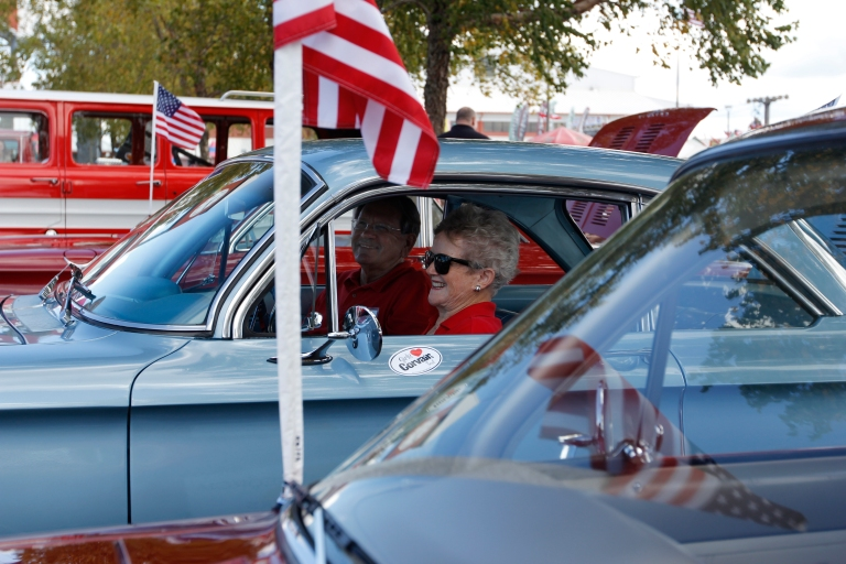 Joan Couch, 75, a retired flight attendent at Delta, from Perry, Georgia, sits in her 1964 Corvair Monza with her husband, Tommy Couch, 73, car lot owner from Oxford, Mississippi at the Georgia National Fair in Perry, Georgia, on October 10,  2015. The couple met at a car show and were married four and a half years ago.