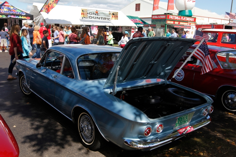 Joan Couch, 75, a retired flight attendent at Delta, from Perry, Georgia, sits in her 1964 Corvair Monza with her husband, Tommy Couch, 73, car lot owner from Oxford, Mississippi at the Georgia National Fair in Perry, Georgia, on October 10,  2015. Couch bought the car new in '64 as her first car.